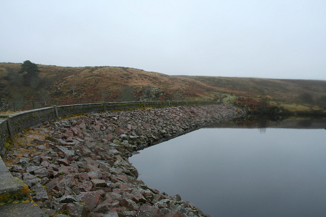 Clunas reservoir dam wall  viewed from the nor'east