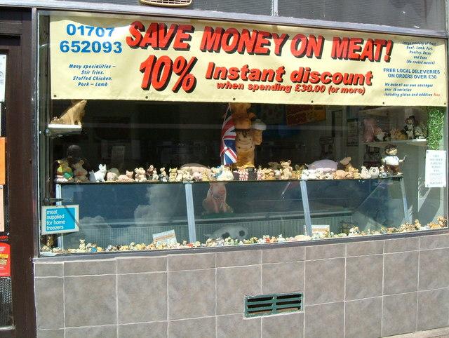 Butchers shop window.