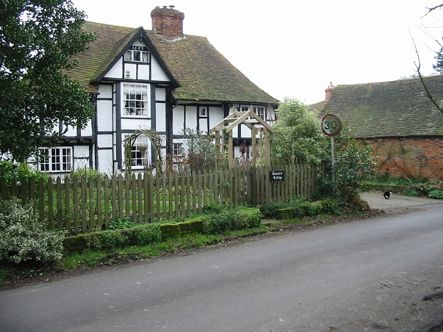 Old black and white timber framed house on Southenay Lane