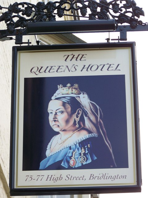 Sign for the Queens Hotel, Bridlington