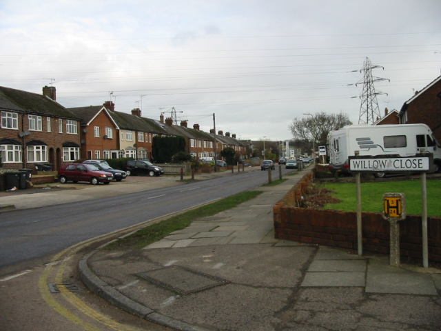 Looking NE along Broad Oak Road from Willow Close
