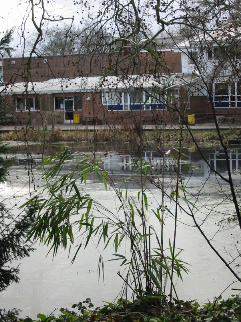 Large pond in front of Barton Court School