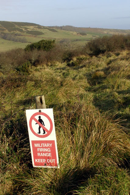 Military firing range warning sign