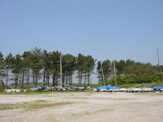 Yachts ashore at the Dee Sailing Club