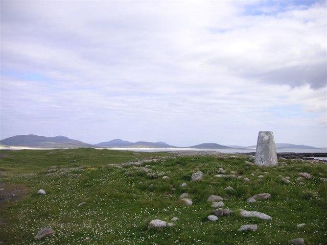 The trig point on Rubha Àird a' Mhuile, South Uist