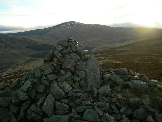 Cairn looking directly towards the summit of Hedgehope Hill