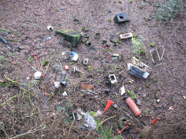 Fly tipping on old railway line