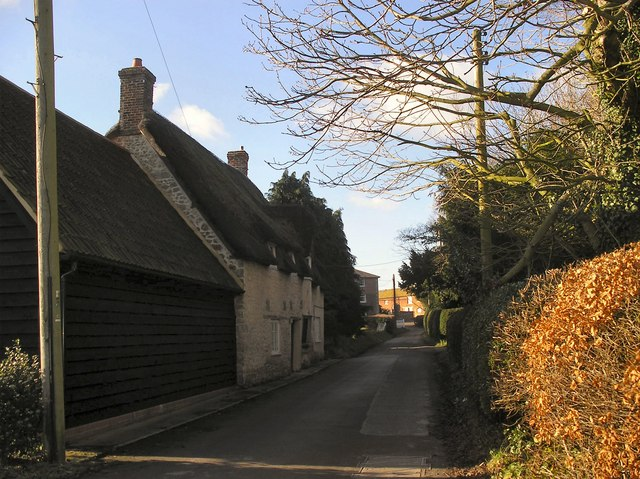 Looking down Bessell Lane from The Corner, Iwerne Courtney, Dorset