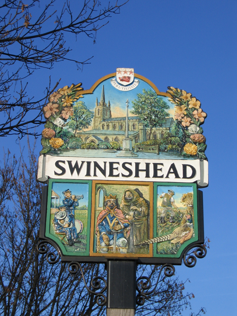 Detail of village sign, Swineshead, Lincs