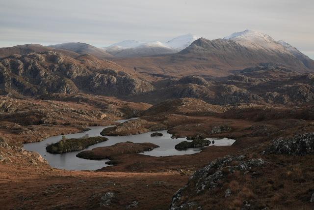 View across Lochan Gubhais towards An Teallach
