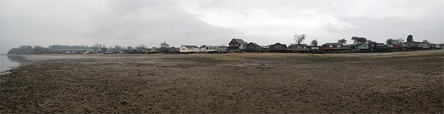 Panorama of stilt houses at Wrabness Point
