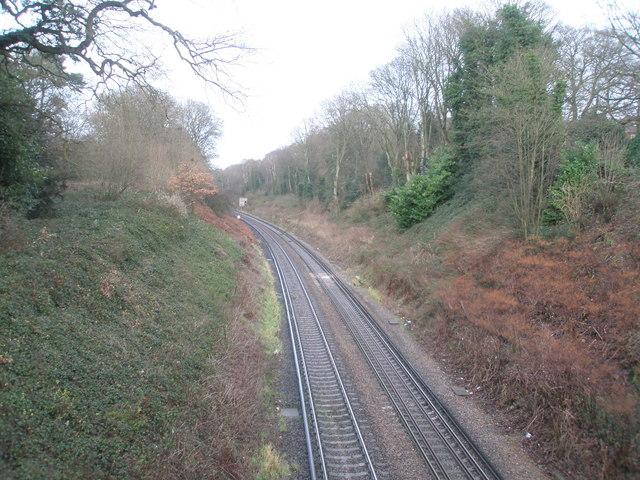 Railway line running north west towards Witley