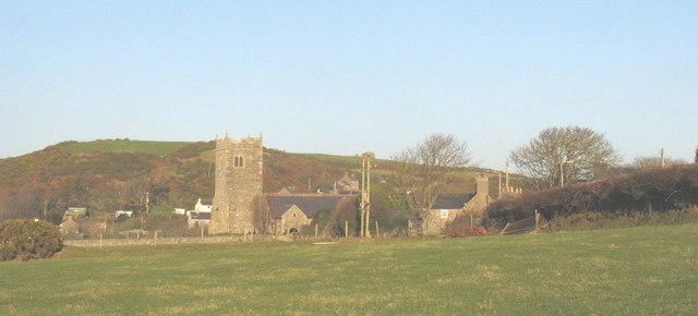 St Engan's Church seen across the fields