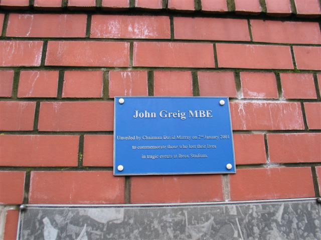John Greig Statue Plaque Ibrox