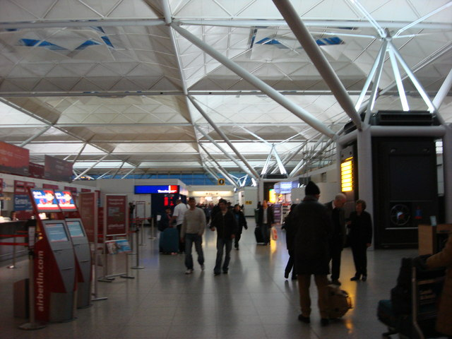 Stansted Airport, inside the terminal building