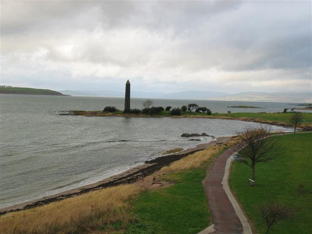 Largs shoreline looking over to the Pencil