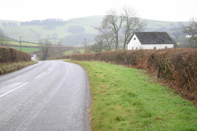 The B4520 heading towards Lower Chapel