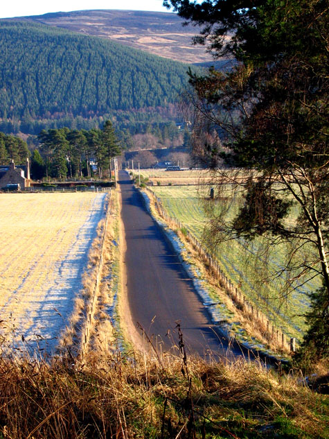 The B976 South Deeside road west of Ballater
