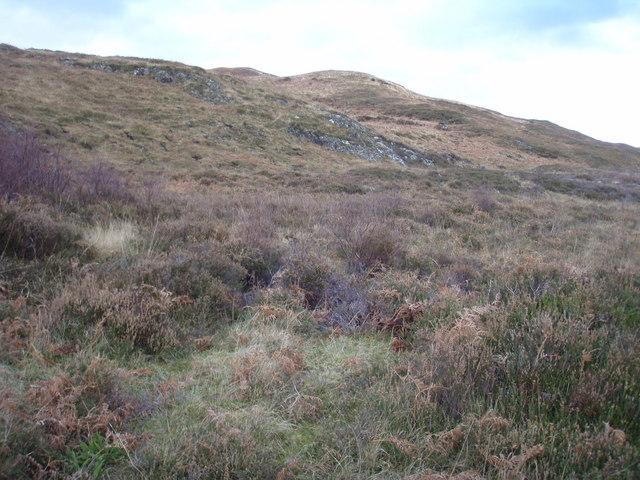 Grassy slopes below Sìthean Mòr