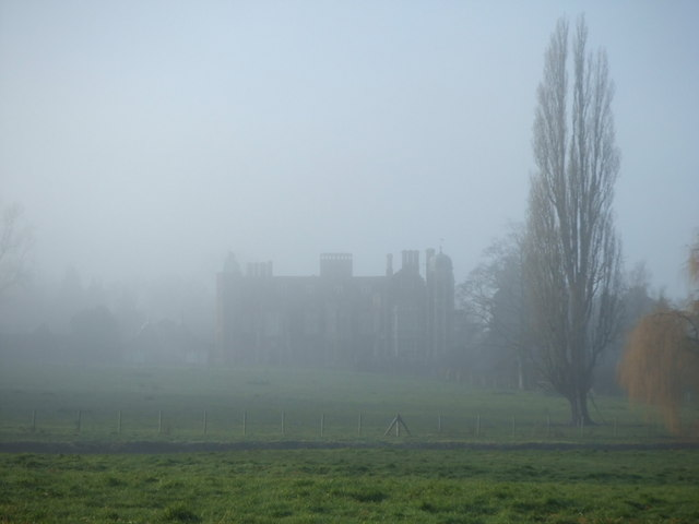 Madingley Hall in the mist