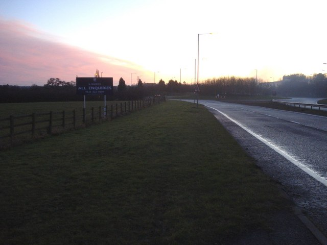 Sunset over the bypass roundabout