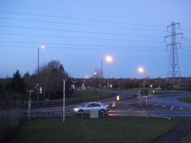 Dusk at the Carrington Bridge roundabout