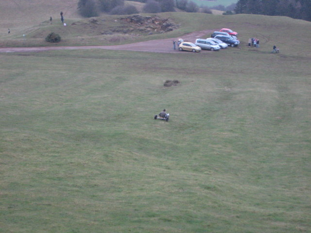 Having fun downhill on grass buggy