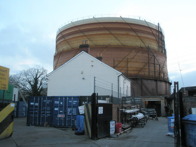 Emsworth Gasometer as seen from Fork Lift Factory