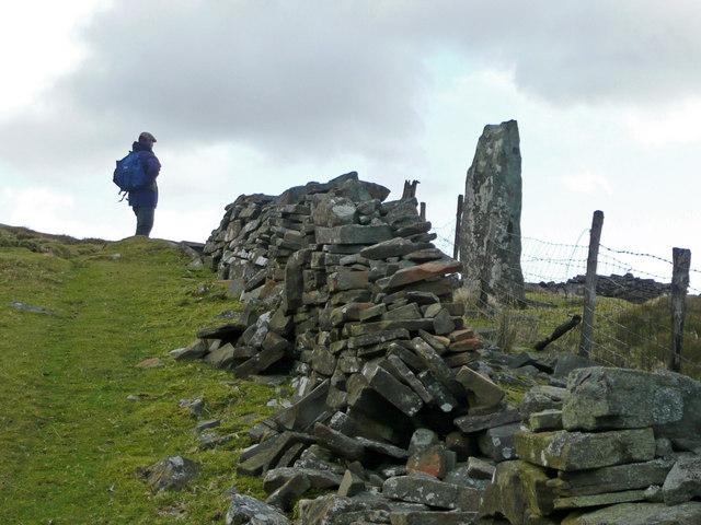 Geographer and Maen Llwyd menhir.
