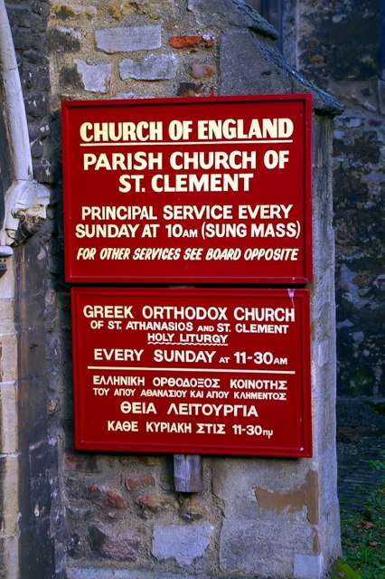 Sign at St Clement's church