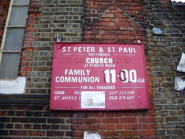 St Peter & St Paul Church, Plough Road, Battersea, Sign