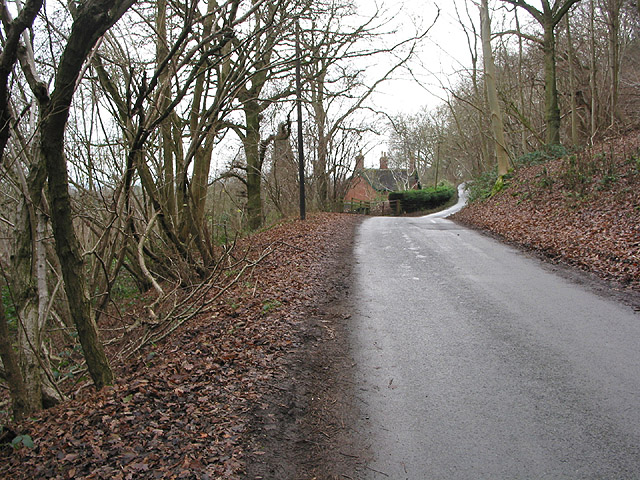 Country road approaching Hollybush from the north.
