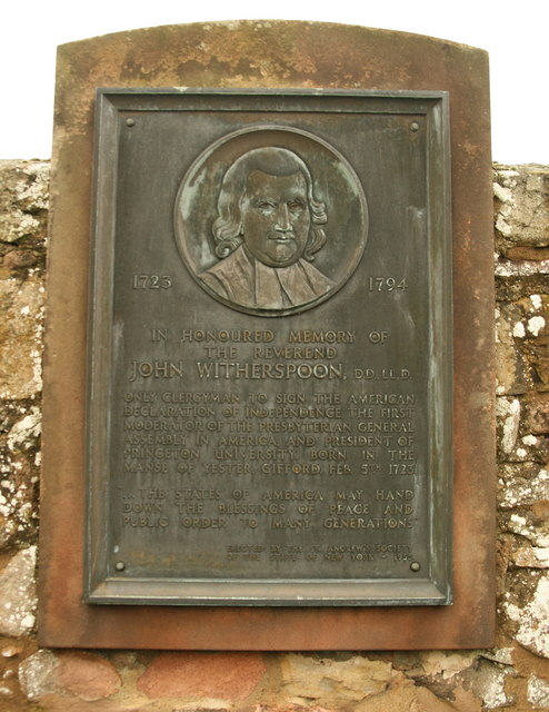 Plaque to John Witherspoon, Gifford