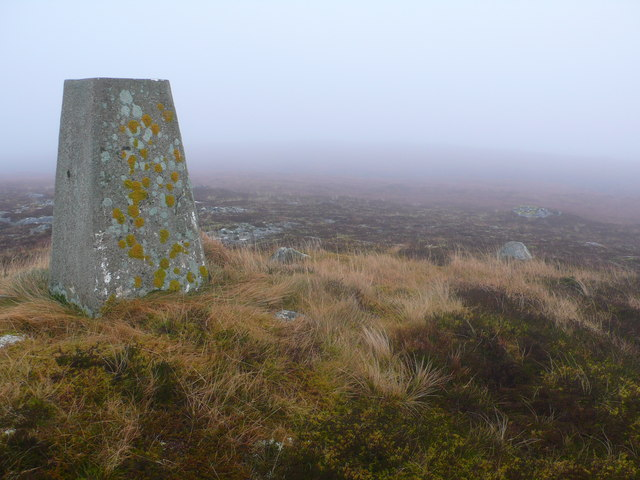 Trig point on summit of Cnoc an Liath-bhaid Mhoir