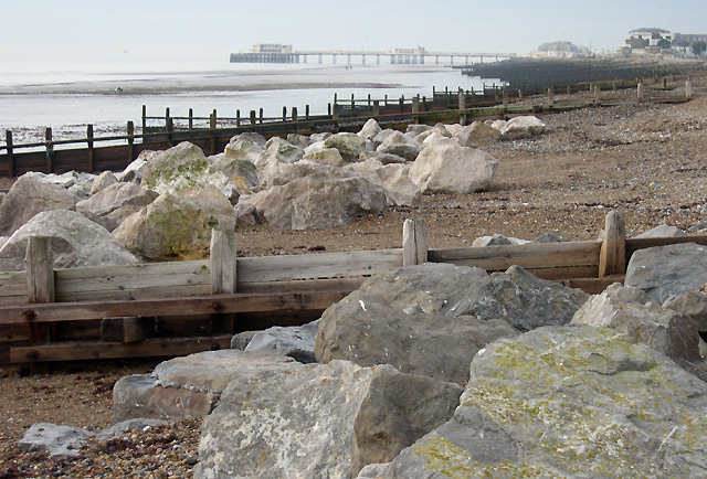 Boulders and Groynes, Worthing Beach, West Sussex