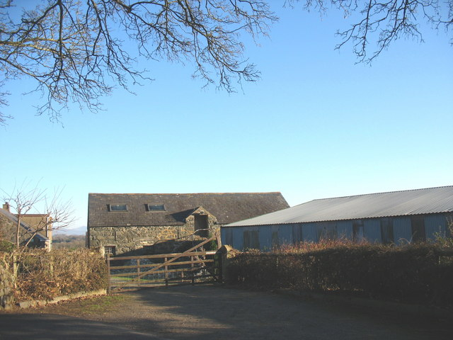 A combination of traditional and modern farm buildings at Gellidara