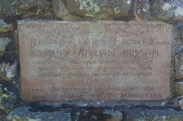 Plaque on Memorial Cairn at foot of Glen Prosen, Angus