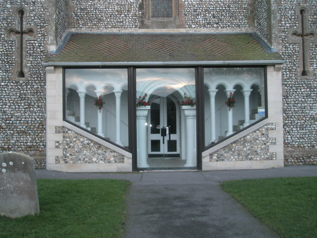 Modern entrance to traditional church