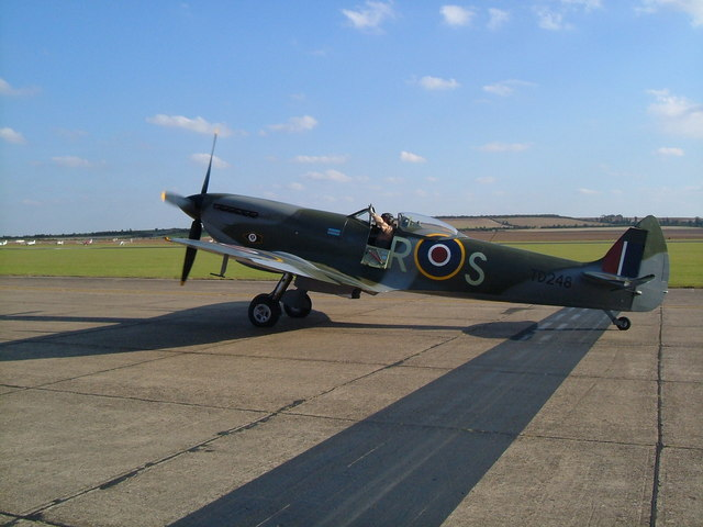 A Spitfire at Duxford Airfield.