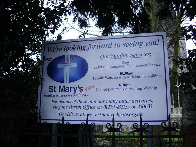 St  Mary's Church, Churchgate Street, Harlow, Sign