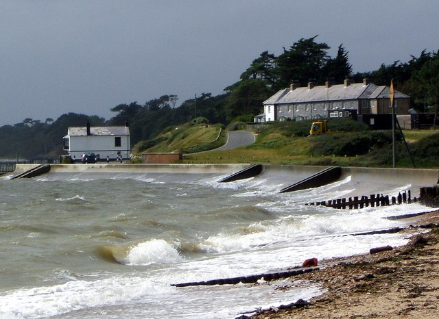 View towards Coast Guard Cottages, Lepe