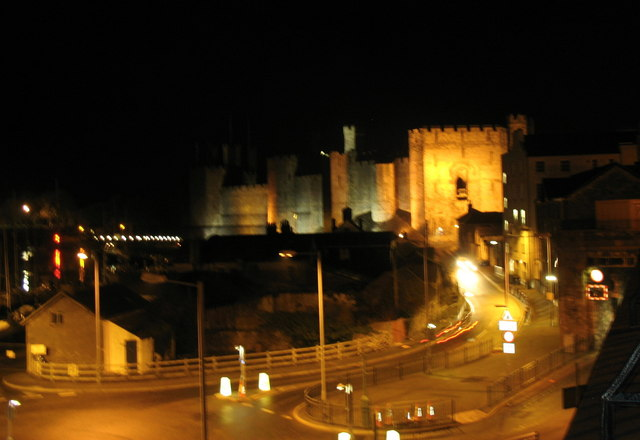 The western end of St Helen's Road and Caernarfon Castle at night
