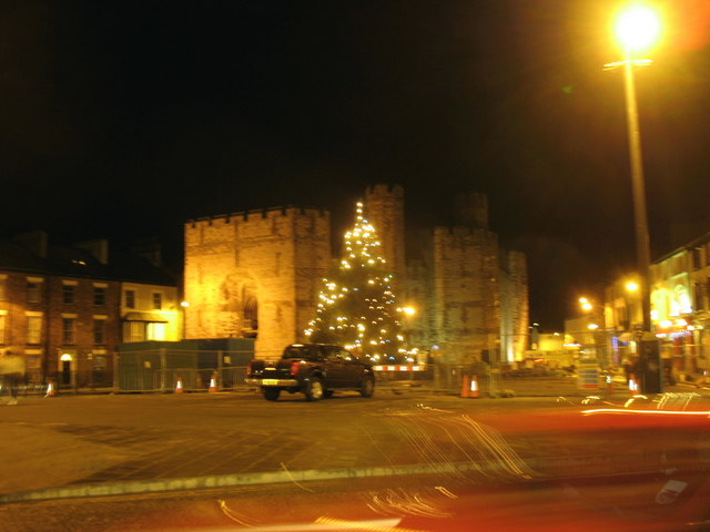 Christmas lights and traffic cones on Y Maes