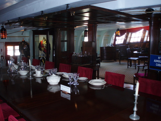 Dining table in Officers' Mess of HMS Victory