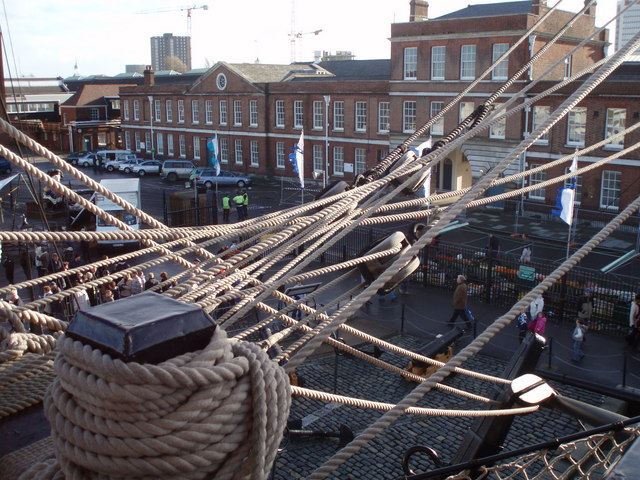 Portsmouth dockyard seen from deck of HMS Victory