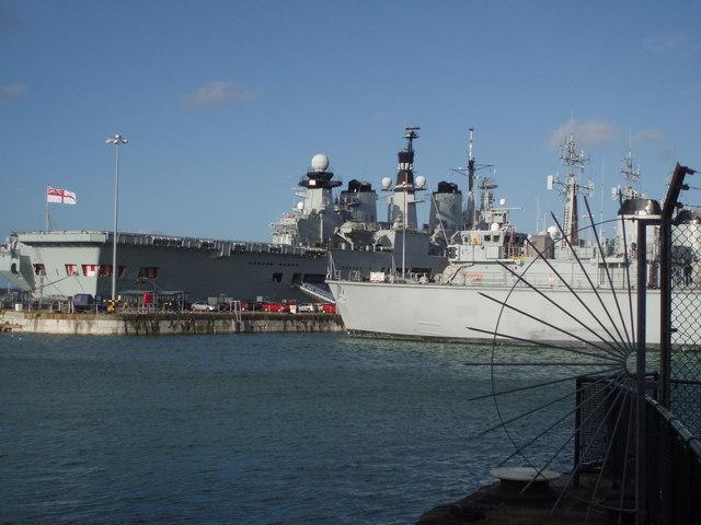 Warships in Portsmouth Dockyard