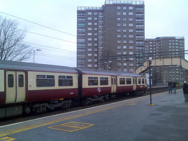 Dalmuir station and highrise flats