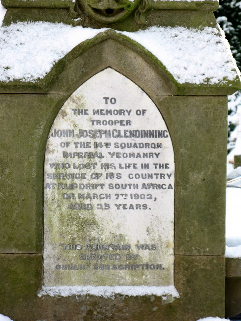 Plaque on the Memorial to Trooper Glendinning