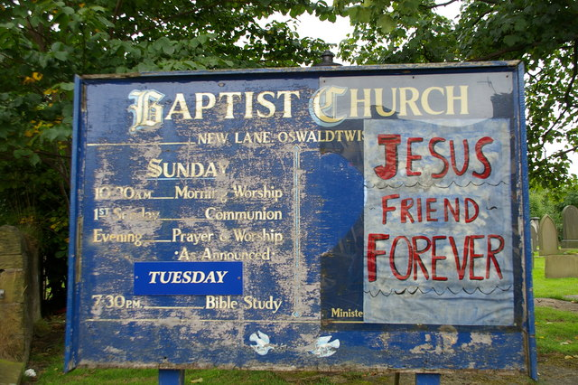 Baptist Church, New Lane, Oswaldtwistle, Sign