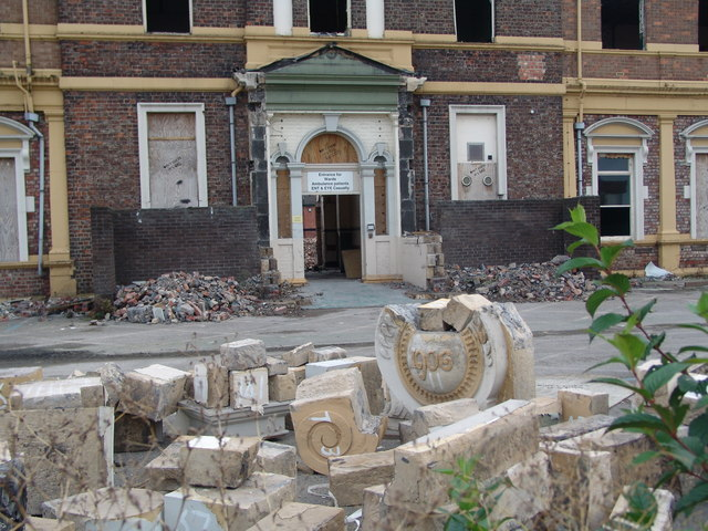 The North Riding Infirmary during demolition
